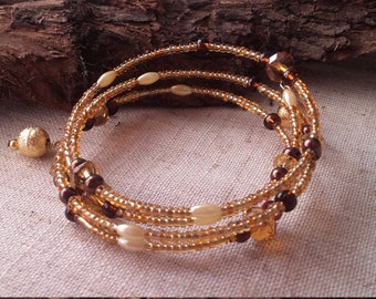 Sparkly spiral bracelet in golds and browns