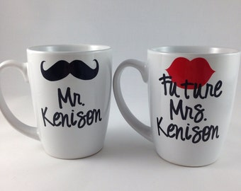 Engagement Gift, Mr and Future Mrs Coffee Mug Set, Bridal shower gift, wedding gift, bride to be gift, engagement party present, bride cup