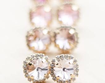 Bridesmaid Gift - Gold Swarovski Halo Earrings - You Pick the Color - Bridesmaid Jewelry - Swarovski Crystal Earrings