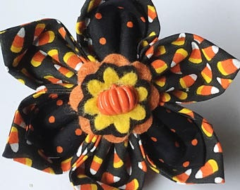 Halloween Candy Corn Collar Flower for Girl Dogs and Cats