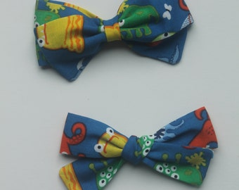 Monster Bow~Bow Tie~Monsters~Girls Hair Bow~Fabric Bow~Baby Bows~Hand Tied Bow~Baby headband~baby girl~Girls bow~Baby boy~Boys bowtie~