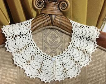 Openwork Collar Handmade Lace Collar Woman Neck Accessory Knitted Collar Feminine Gift Collar for Women Ecru Crochet Collar