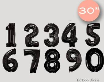 "Custom BLACK 0-9 number balloons | 30"", birthday"