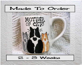 Mother Of Cats Pottery Cat Mug 12 Oz. Handpainted by Grace M. Smith
