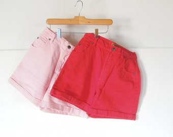 """2 pair of Vintage 90's high waist Denim shorts Pink and Red Limited Jeans Cuffed High Waisted Shorts 26"""" waist 35"""" hips Girls 12 Women's 1-2"""