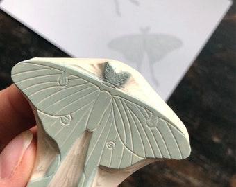 Hand Carved Luna Moth Rubber Stamp