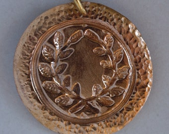 Bronze Laurel Medallion with a Hand Hammered Edge Band
