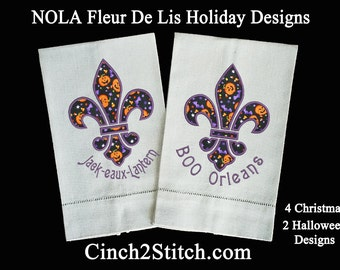 "Fleur De Lis New Orleans Applique -  Machine Embroidery Design Download (5"" x 7"" hoop) NOLA Holiday Gifts"
