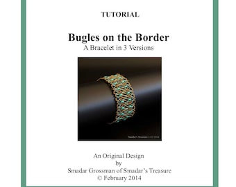 Beading Tutorial, Bugles on the Border Bracelet. Pattern with SuperDuo and Bugle Beads. Beadweaving Instructions Pattern by Smadar Grossman