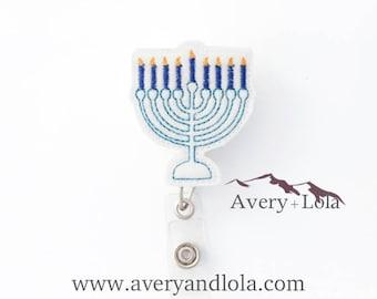 Menorah Badge Reel, Hanukkah Badge Reel, Chanukah Badge Reel, Menorah ID Holder, ID Badge Holder, Nurse Gift, Teacher Gift