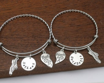 2 Best friend running bracelets, 2 bff running gift, running jewellery, BFF, split heart personalised name bracelets, friendship