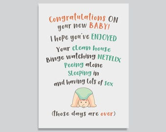 Funny New Baby Card, Card for Pregnant Friend, Funny New Parents Card, Baby Shower Card, Funny Expecting Card, Say Goodbye Card