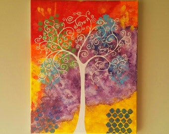 Original Tree of Life Wall Art, Abstract Tree painting, Whimsical Tree Art, tree of life painting, canvas painting 16x20