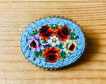 Delicate micro mosaic brooch