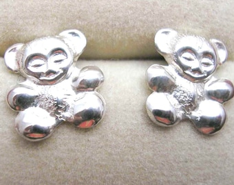 TEDDY BEAR Earrings STUDS Sterling Silver Post
