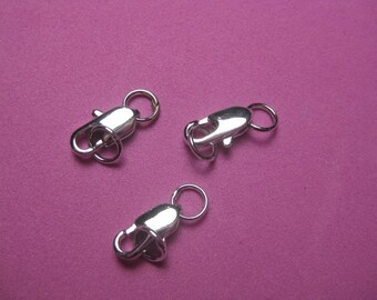 REDUCED - Rhodium Plated Lobster Claw Clasps with Rings - 3 pcs