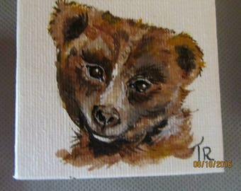 painted in acrylic on small canvas bear head