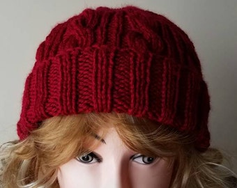 Red Wine Color Cable Hand-Knit Hat. Super soft, for men or women- Ready to be Shipped