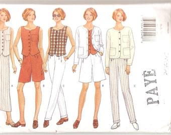 1990's Butterick 5012 Pattern Today's Wardrobe Summer Women Garment Jacket Pants Shorts Skirt Blouse Top Size 6-8-10