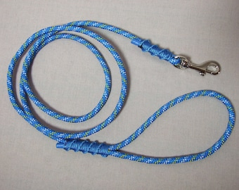 Small dog leash - 1.30 m blue rope patterned, 6mm diameter