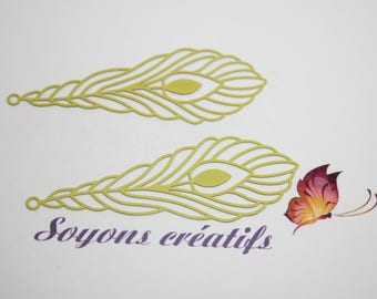 Set of 2 prints yellow green 24x68mm - making feather leaf charms connectors and high quality Premium European-