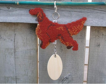 Irish Setter crate tag dog or hang anywhere, hand stitched original art, Magnet option