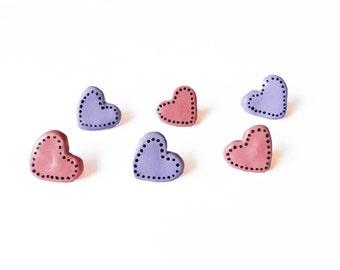 Heart Push Pins - Decorative Push Pins - Drawing Pins -  Decorative Thumbtack - Polymer Clay - Wall Tacks - Girls Decor - Office Decor