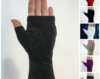 Bamboo wrist warmers, fingerless gloves.