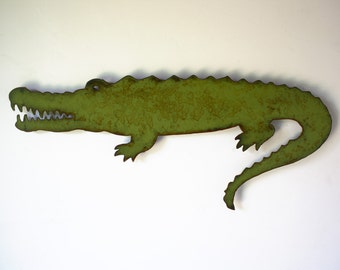 "Alligator metal wall art - 36"" long - choose your color with rust patina - nautical crocodile metal wall art sign - alligator steel wall art"