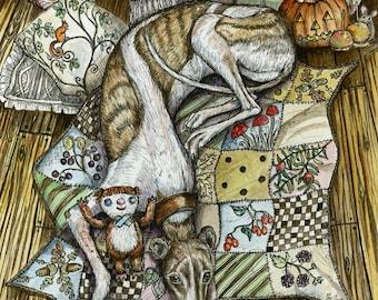DOG ART - Greyhound Print