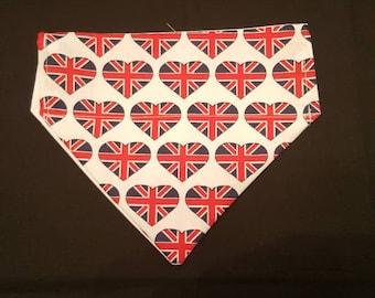 Dark union jack hearts dog bandana