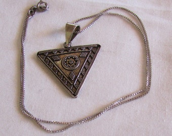 Sterling Silver Triangle Necklace.