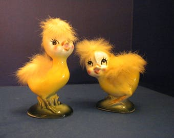 Norcrest Yellow  Easter Chick Pair - Set of Two (2) with Adorable Yellow Down Standing in Spring Grass