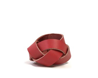 Braided Leather Cuff in Cherry Red