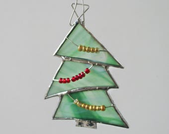 Green Christmas Tree Stained Glass Suncatcher Home Decor or Christmas Holiday Ornament