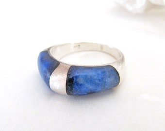 Lapis Sterling Silver Ring, Vintage  Lapis Lazuli Jewelry, Inlaid Stone, Blue Lapis Ring, Blue Stone Ring Size 6, Stackable Rings for Women