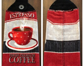 Kitchen Towel With Crochet Top - Black and Red Coffee