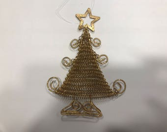 Vintage metal wire gold colorTree ornament, 6 inches tall (HR101)
