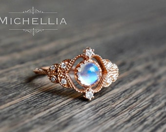 Vintage Rose Ring in Moonstone, Rainbow Moonstone Leaf Engagement Ring, Available in 14K Gold, 18K Gold, or Platinum, R2003S