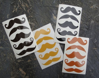 FREE SHIPPING - 12 mustache stickers - TWO sheets of 6