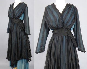 1900s Edwardian Dress, Antique Dress, Turquoise Blue and Black Ribbon Silk Dress with Tiered Skirt