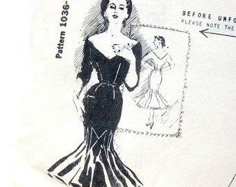 Jo Copeland Party Goer Dress Pattern - Spadea 1036 - Cocktail Dress / Vintage Sewing Pattern / Mermaid Hem Dress / Size 10 Original Folds