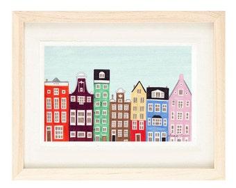 AMSTERDAM, NETHERLANDS - 5 x 7 Colorful Illustration Art Print, Scandinavian, Wall Decor, Green, Blue