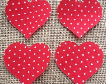 Fabric Iron on Small Red Polka Dot Hearts - Pack of 4