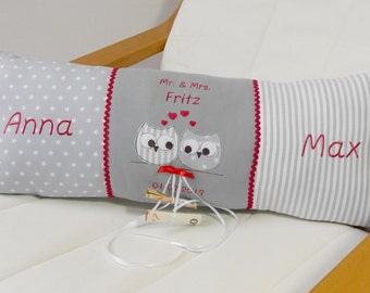 Wedding Pillow, Money gift, owl application, individualized with name and date, embroidered pillow, cuddle pillow, pillow