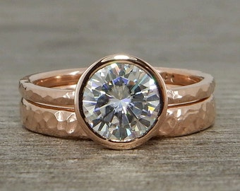 Moissanite Engagement Ring & Wedding Band, Forever One G-H-I, Recycled 14k Rose Gold - Solitaire, Hammered, Ethical, Made To Order