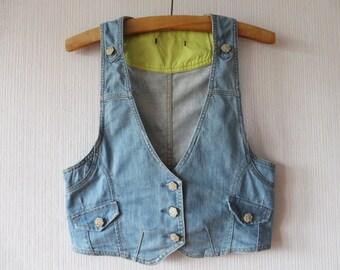 Light Blue Denim Vest Vintage Denim Vest Fitted Jeans Vest Denim Waistcoat Metal Buttons Women's Summer Vest Medium Size Vest
