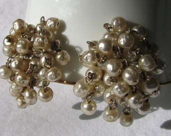 "Full and Thick Baroque Pearl Fringe Cluster Earrings, 1 & 5/8"", Mid Century Clip Backs"