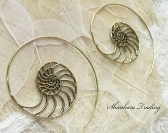 Tribal Brass Earrings - Spiral Hoop Earrings - Ammonite Earrings - Brass Tribal Earrings - Gypsy Hoop Earrings - Boho Earrings