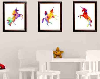 Unicorn print art, unicorn wall art, unicorn wall print, unicorn room decor, unicorn art print, set of 3